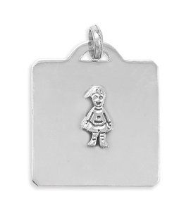 Sterling Silver 41mm X 32mm Square Pendant With Boy Charm - JewelryWeb JewelryWeb. $69.30. Save 50%!