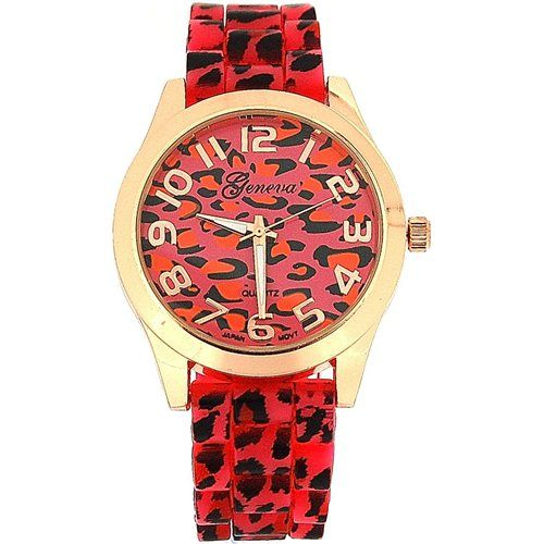 Ladies Red/Pink Rose Gold Leopard Print Silicone Fashion Watch GE0641A