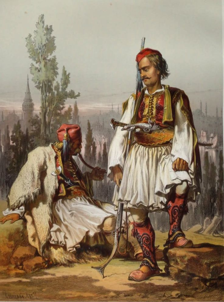 Albanian mercenaries in the Ottoman Army, mid-19th century.  Lithography by Amadeo Preziosi  (1816 - 1882).