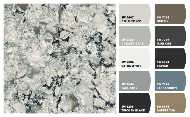 sherwin williams paint colors generated to coordinate with cambria praa sands quartz