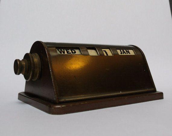 Vintage 1930s bank perpetual brass desk calendar. - 80 Best Vintage Perpetual Calendars Images On Pinterest Boxes