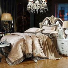 SALE NOW for ONLY $59 Gray gold Jacquard bedding sets 6pc/4pc queen king size duvet cover set Silk Cotton blend Fabric luxury bedlinen