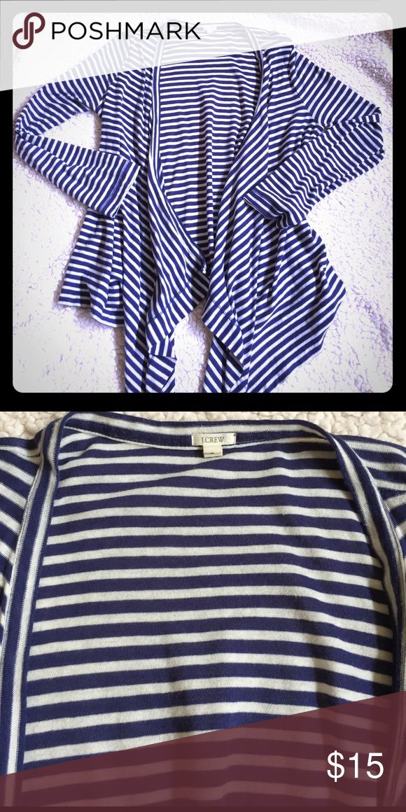 JCrew Navy/White Striped Open Front Cardigan Preloved in great condition! Perfect for spring layering! Lightweight! J. Crew Sweaters Cardigans
