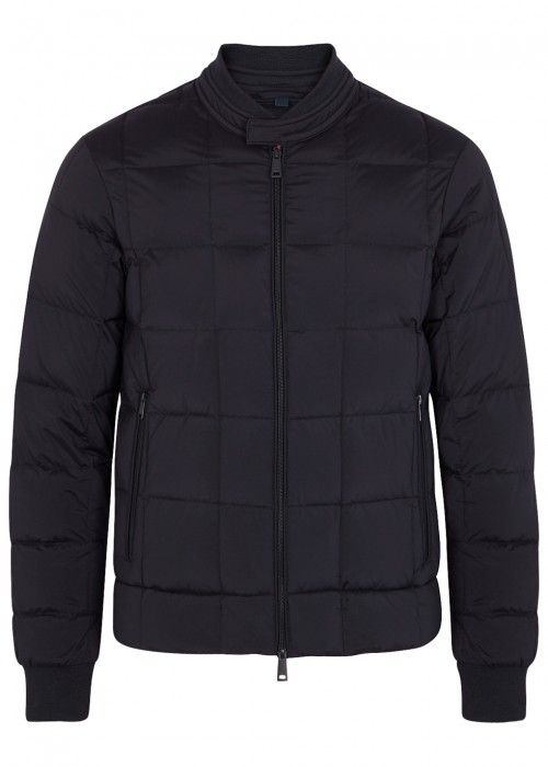 ARMANI JEANS NAVY QUILTED SHELL BOMBER JACKET - SIZE 38. #armanijeans #cloth #