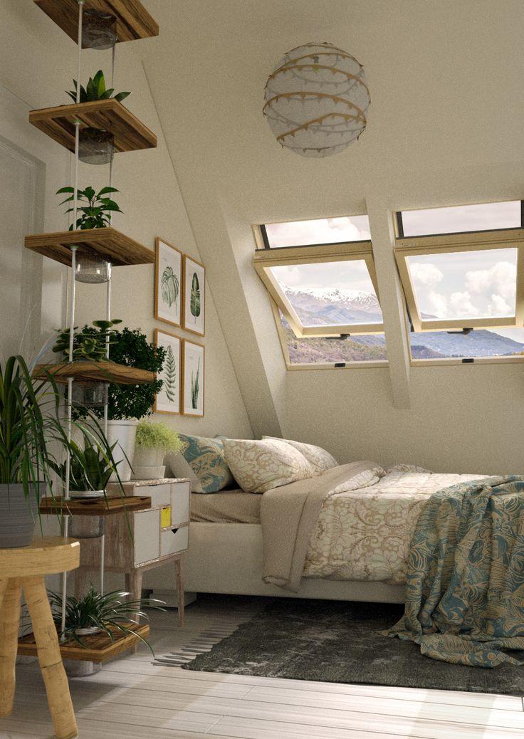 Zielona sypialnia pełna wypoczynku.
