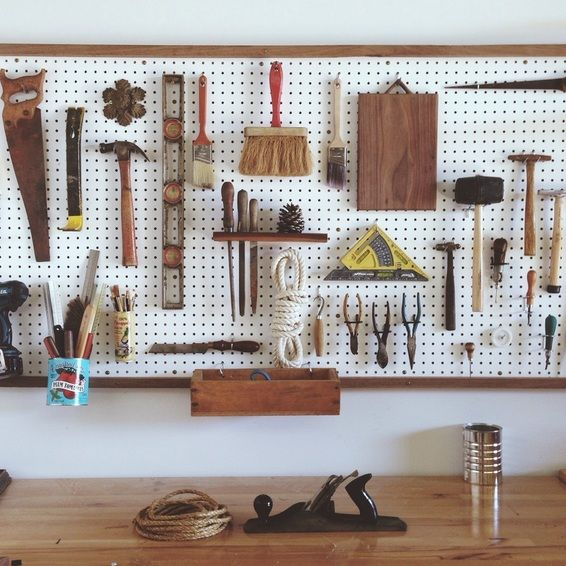 Peg board storage.