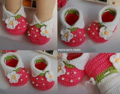 """Strawberry Shortcake"" baby booties"