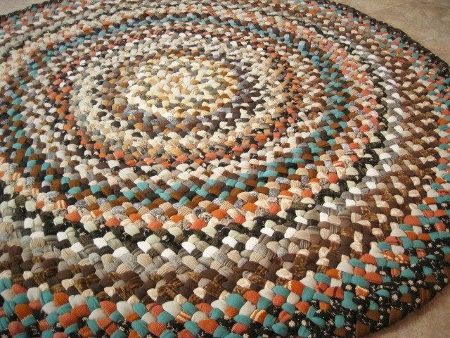 Ready To Ship Handmade Round Hand Braided Recycled Rug / Carpet / Rag Rug in shades of brown / blacks / tans for nursery, bathroom, kitchen by mrsginther on Etsy