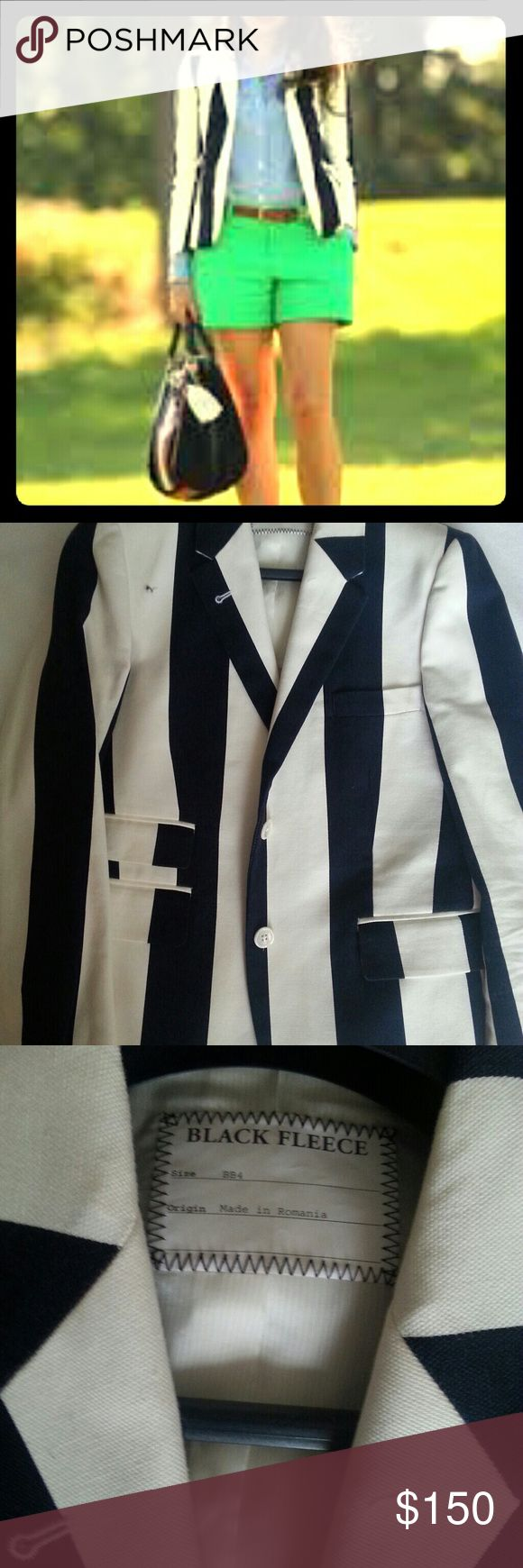 BrooKs Brothers Blue & Ivory Striped Blazer Brooks Brothers Black Fleece Label Schoolboy Blazer in thick vertical rugby stripes. Size BB4 which is a 10. Brooks Brothers Jackets & Coats Blazers