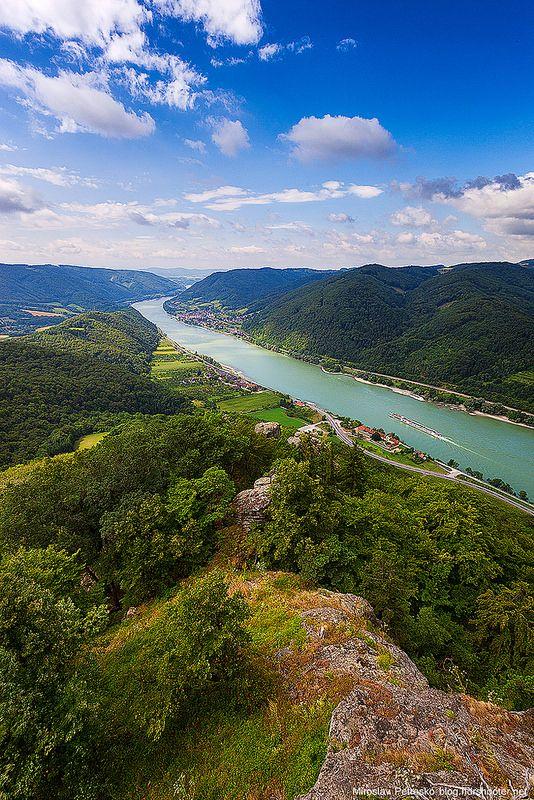 Danube river from the Aggstein Castle in Austria