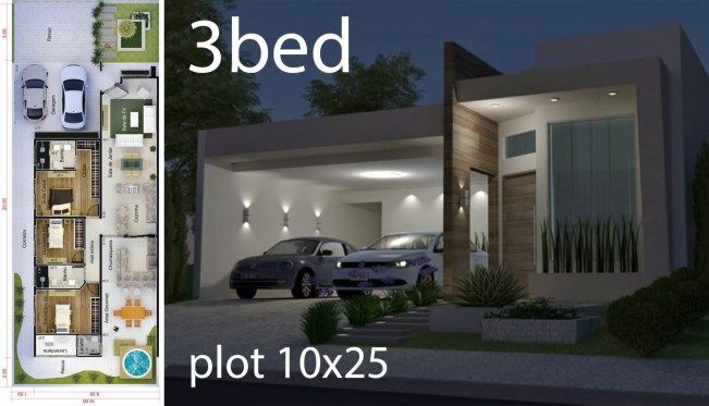 Home Design 5x25 Meters Home Design With Plan House Design House Plans Small House Design Plans