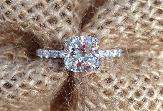 Elegant Cushion Cut Diamond Engagement Ring - Shapiro Diamonds http://www.shapirodiamonds.com/product/elegant-cushion-cut-diamond-engagment-ring Simple and Elegant Engagement Ring - Diamond Ring - Custom Designs