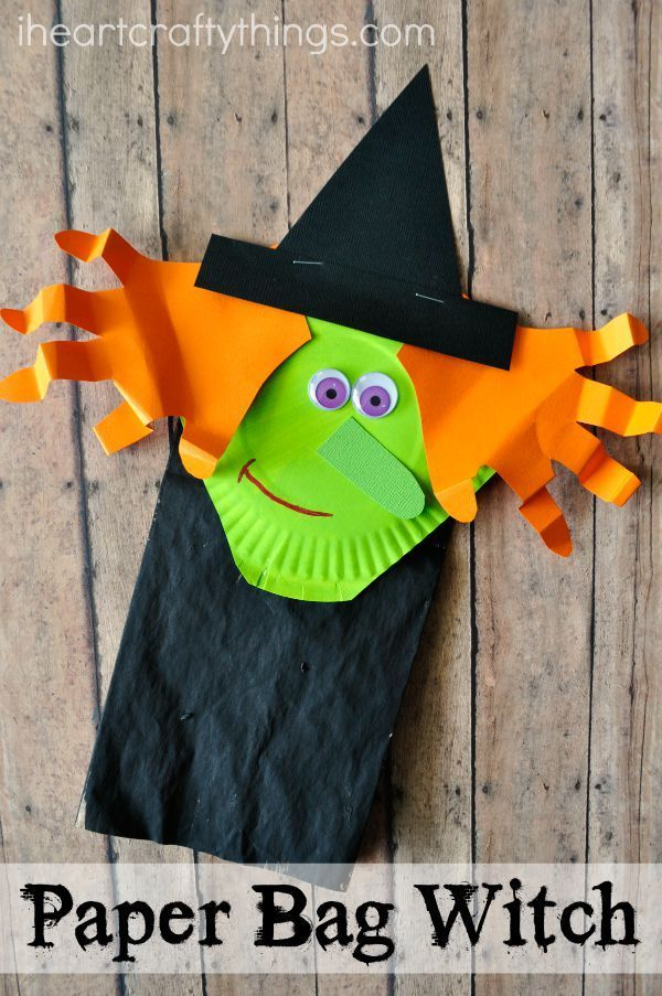 Paper Bag Halloween Witch Craft for Kids that couples as a cute puppet. Adorable Halloween Kids Craft. #craftpaper
