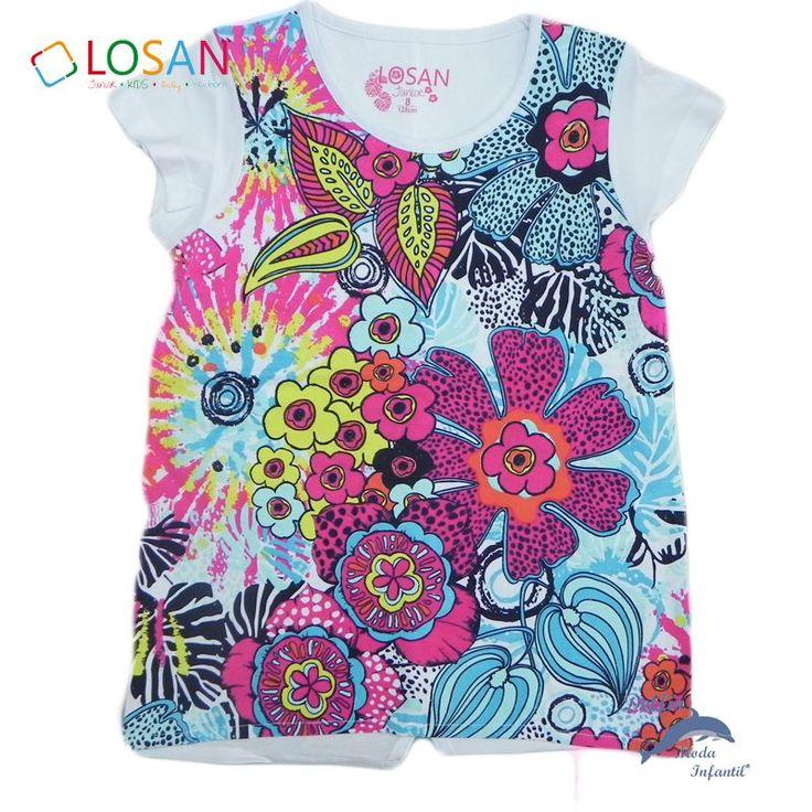 Camiseta de niña juvenil LOSAN manga corta serigrafia