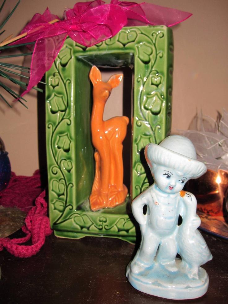 cute deer vase & blue boy made in Japan...