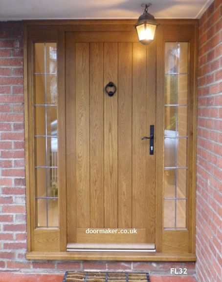 oak cottage door with lead sidelights