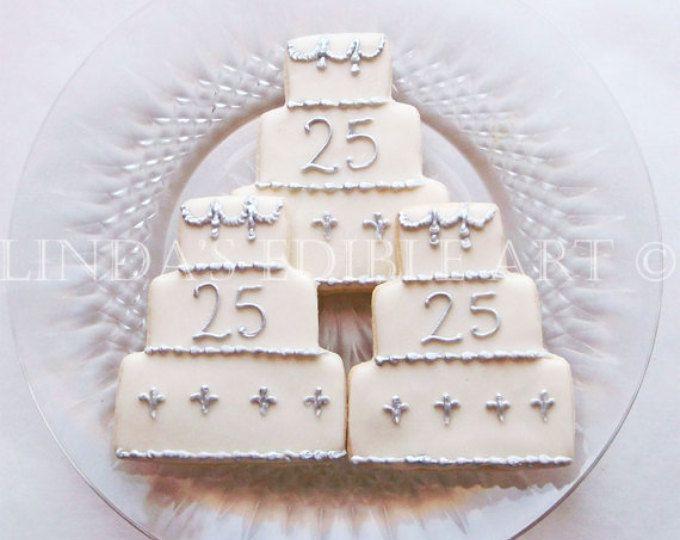 25th Anniversary Cake Cookies 1 Dozen (12)