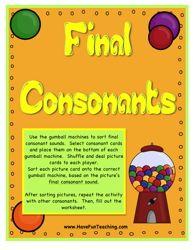 Ending Sounds, Ending Sound, Consonants, Ending Sounds Activity, Consonants Activity