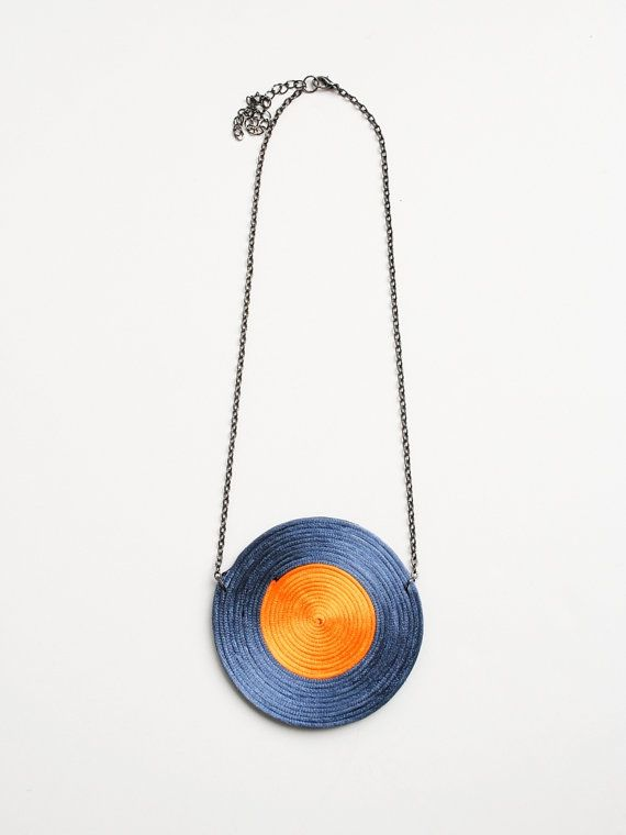 Grey and orange spiral necklace geometric by elfinadesign on Etsy, $29.00