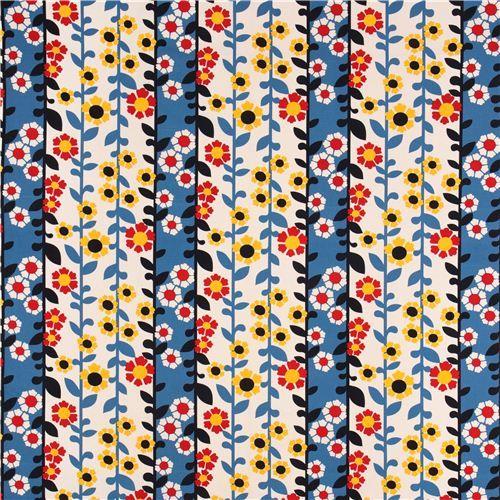 beige-blue flower stripe canvas fabric Robert Kaufman USA