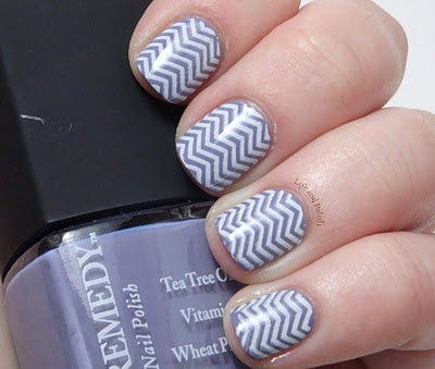 """""""Dr. Remedy's Lively Lavender, which is actually rather grey-ed out and not so lavender, and then stamped it with the zig-zag image from the new BM plates using my konad white!"""""""