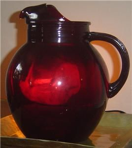 RUBY RED Depression Glass Pitcher Anchor Hocking Mint