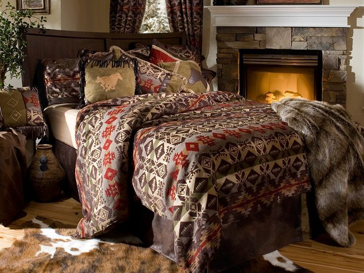 montana bedding has geometric patterns and warm shades of fabric that are warm inviting
