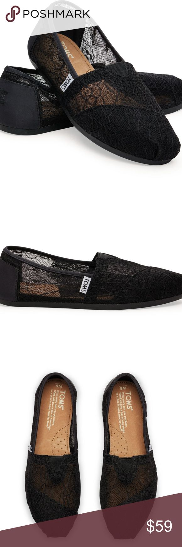 Classic Black Lace TOMS Classic Black Lace TOMS Sheer beauty. A transparent lace upper makes this Classic a perfectly airy complement to any fresh, casual look. •TOMS toe-stitch and elastic V for easy on and off •Classic suede insole with cushion for comfort • Latex arch insert for added support • TOMS Classic one-piece outsole for flexibility and durability Never been worn. I never even tried them on. I accidentally bought the wrong size and it was too late to return them. TOMS Shoes