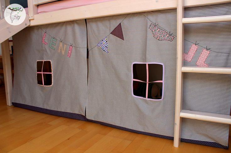 Gardinen & Vorhänge - 3 Vorhänge für Hochbett /Hochbettvorhänge nach Maß - ein Designerstück von Stoffzaubermaus bei DaWanda