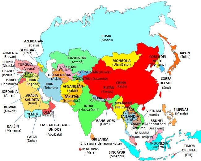 Asia es el primer continente del mundo y el de mayor población. Comprende 47 países.