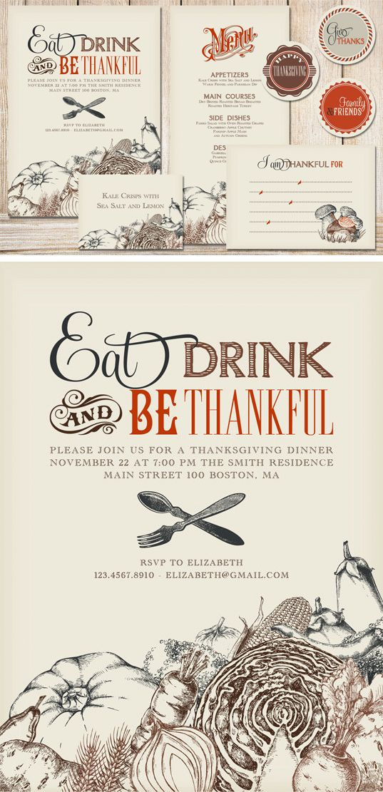 Step up your Thanksgiving dinner Vintage style menu | Graphic Design