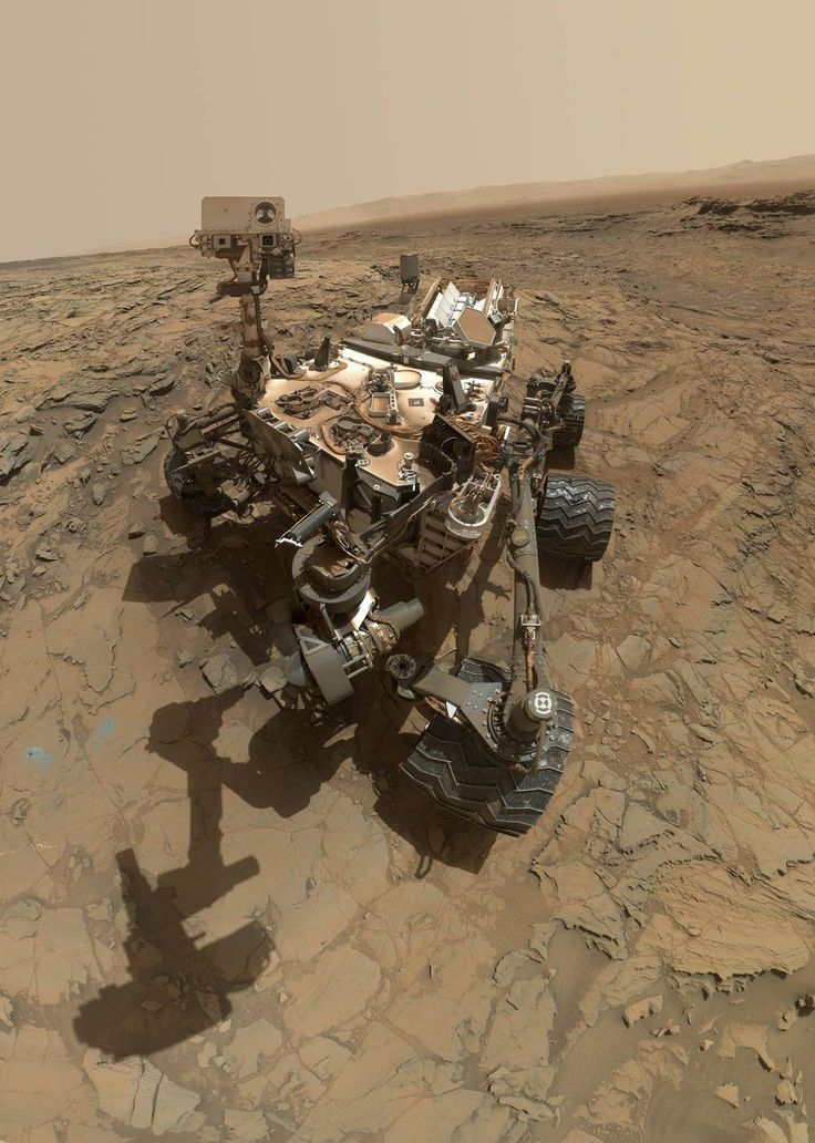 "This self-portrait of NASA's Curiosity Mars rover shows the vehicle at the ""Big Sky"" site, where its drill collected the mission's fifth taste of Mount Sharp, at lower left corner. The scene combines images taken by the Mars Hand Lens Imager (MAHLI) camera on Sol 1126 (Oct. 6, 2015). Credit: NASA/JPL-Caltech/MSSS"