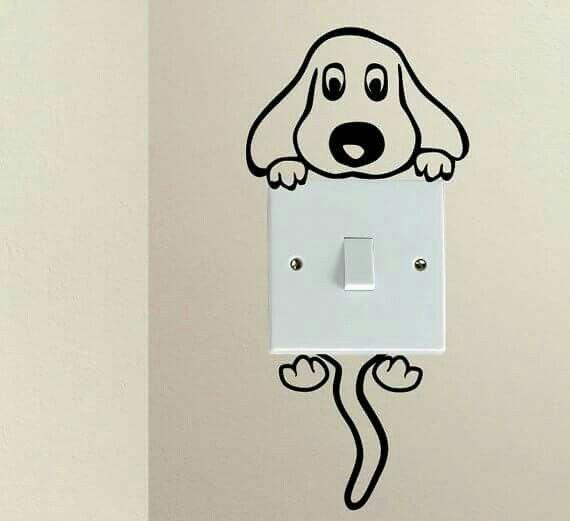 Super leuke DIY om een hondje te tekenen dat over een stopcontact buigt!