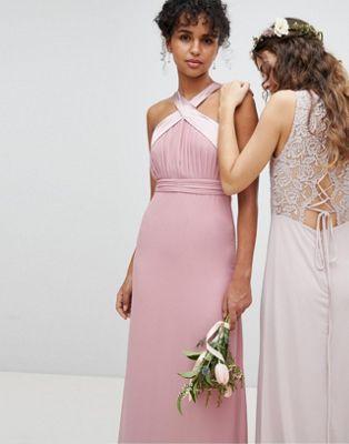 b867fb320110 TFNC Bow Back Pleated Maxi Bridesmaid Dress