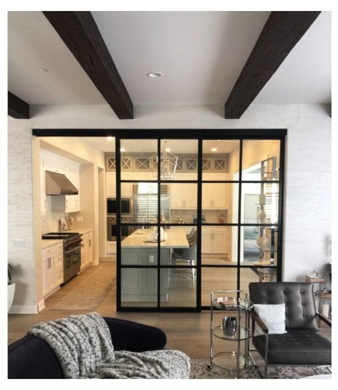 Suspended Room Dividers With No Bottom Track Glass Room Kitchen Glassroomkitchen Separate Yo Living Room Sliding Doors Living Room Door Modern Room Divider
