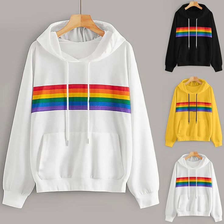Woman Fashion Casual Loose O-Neck Rainbow Print Hoodie Long Sleeve Pullover hood…