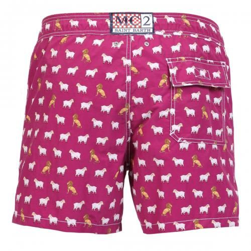 NYLON LONG SWIM SHORTS WITH LION PATTERN Nylon long Swim Shorts with lions and sheep print. Two front pockets and back Velcro pocket. Internal net. Elastic waistband with adjustable drawstring. COMPOSITION: 100% NYLON. Model wears size M, he is 189 cm tall and weighs 86 Kg.