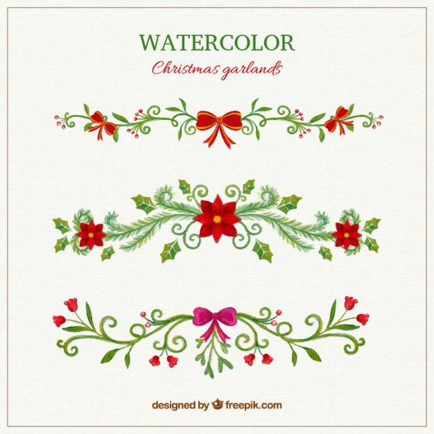 Free vector hand painted christmas garlands #33398