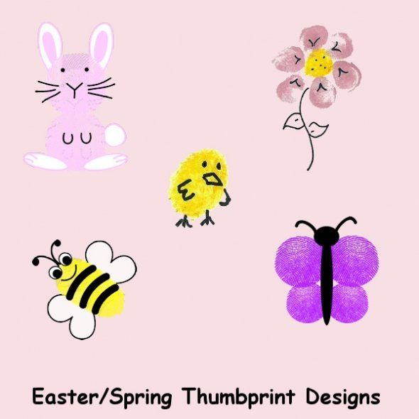 Easter/Spring Thumbprint designs: Easter Card, Thumb Prints, Greeting Cards, Fingerprints Crafts, Fingerprints Art, Thumbprint Design, Spring Thumbprint, Thumbprint Art, Thumbprint Character