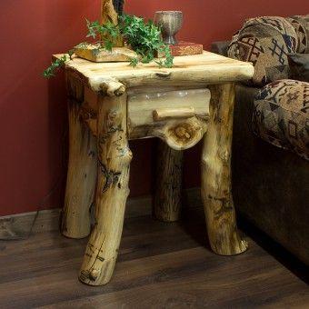 Aspen Lodge 1 Drawer Log Nightstand Log Bedroom Furniturecedar
