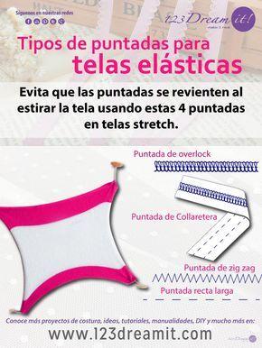 Si no sabes como coser telas stretch aquí te decimos cuales son los tipos de puntadas indicadas. Da click en la imagen para ver el artículo completo.