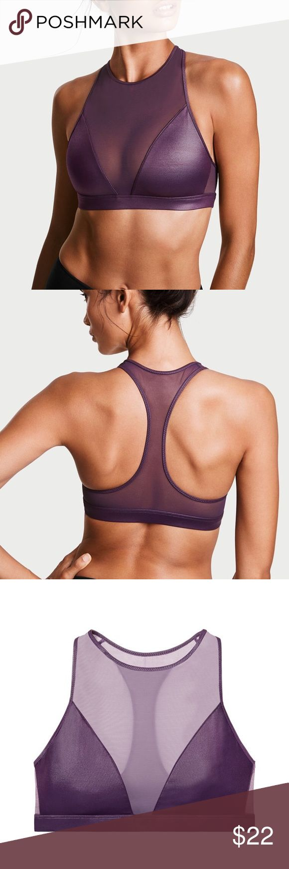 NWT Victoria's Secret Shine High Neck Sports Bra Perfect form: a mesh high neck contours curves in this minimum-support sport bra featuring high-shine fabric.  Details  Minimum support  Pullover style  Performance & Fabric  Perfect for yoga, Pilates and weight training  Mesh high neck and racerback  Hand wash  Imported nylon/spandex  * All items are brand new with tags/and or brand new in the bag, depending on if the item was purchased in-store or online. Victoria's Secret Intimates…
