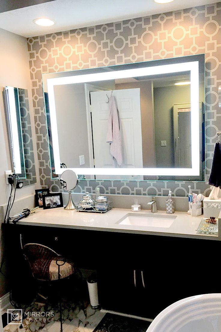 """Front-Lighted LED Bathroom Vanity Mirror: 60"""" Wide x 40 ..."""