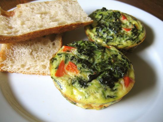 MINI SPINACH FRITTATAS. Makes enough for a weeks worth of breakfasts. Eggs, spinach, red pepper, cheese.