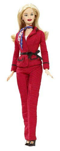 2004 Barbie for President Doll. includes doll in red suit, Barbie for President sign, Handbag/Briefcase, Sunglasses. Collectable Bookmark included.