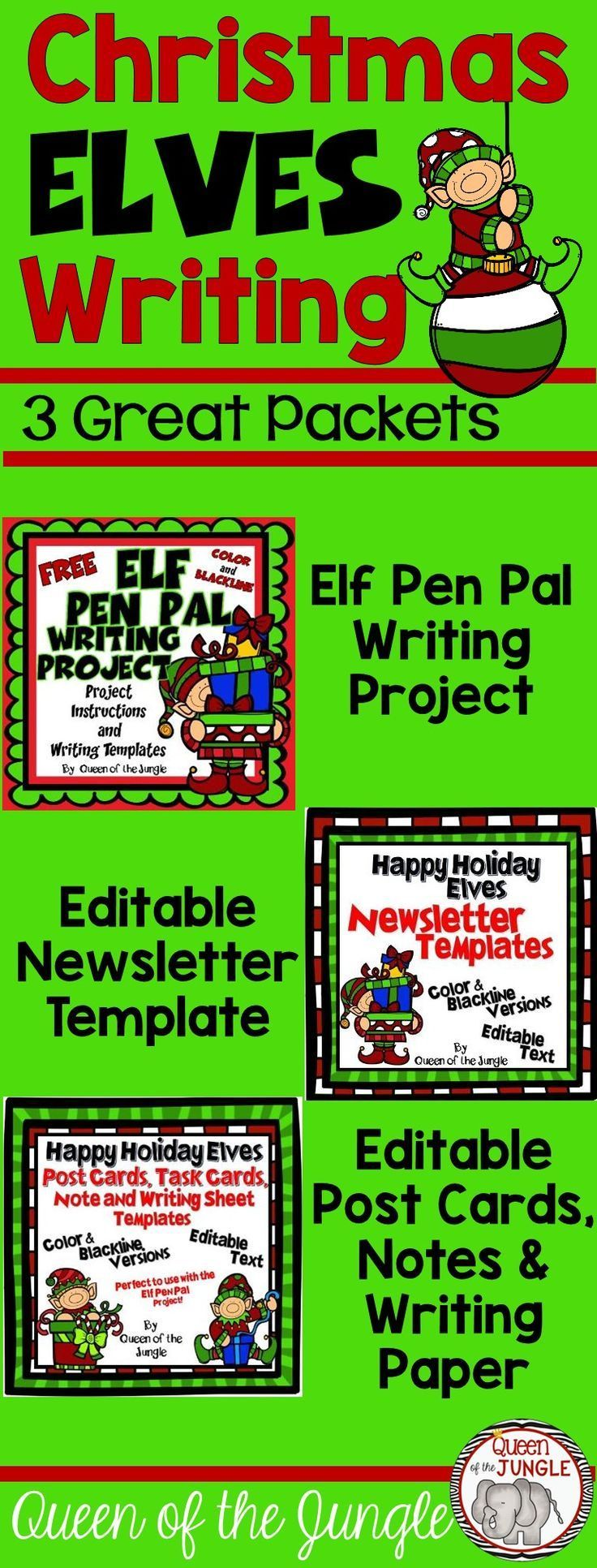 Three Great Writing Packets with a Christmas Elf Theme. Pen Pals, Newsletter Templates and Editable Post Cards, Note Cards and Writing Paper.