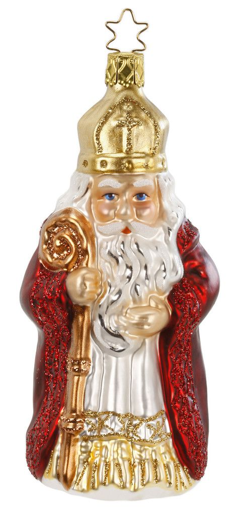 """St. Nikolaus with Legend Card. Inge-Glas of Germany glass Christmas Ornament. 5-1/2""""  Mouth-blown-hand-painted. With Inge-Glas archival paper and a gift box. Made in Germany. Santa brings unselfishness and goodwill. Inge-Glas of Germany - since 1596 Oldest Christmas Ornament Company in the World Exclusive 5-Point Star Crown. For this and other Santas shop > www.mygrowingtraditions.com"""
