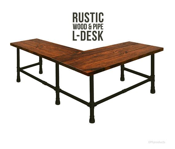 L-Shaped Desk, Industrial Pipe Desk Style, Rustic Wood and Pipe Desk, Corner Desk, Industrial Chic, Urban Wood Desk, Office Work Station