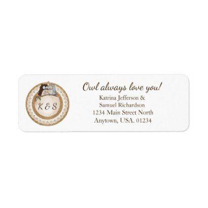 Owl Always Love You Casual Wedding Label - return address labels label diy personalize cyo unique design custom