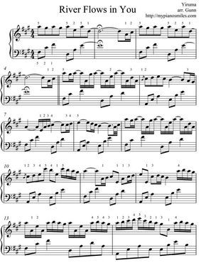 Sheet Music For Popular Music River Flows In You Is One Of My